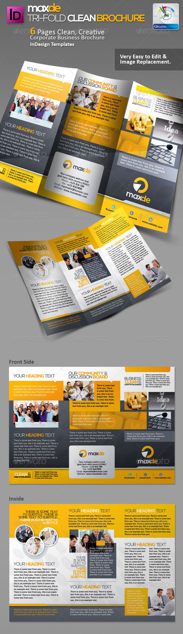 GraphicRiver Maxde Tri-fold Clean Brochure 3061403