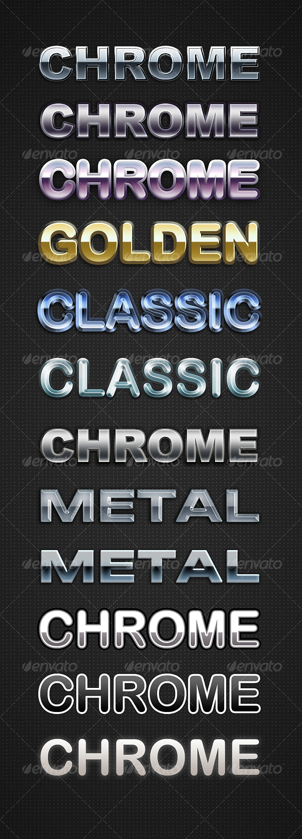 Chrome Layer Styles II - Text Effects Styles