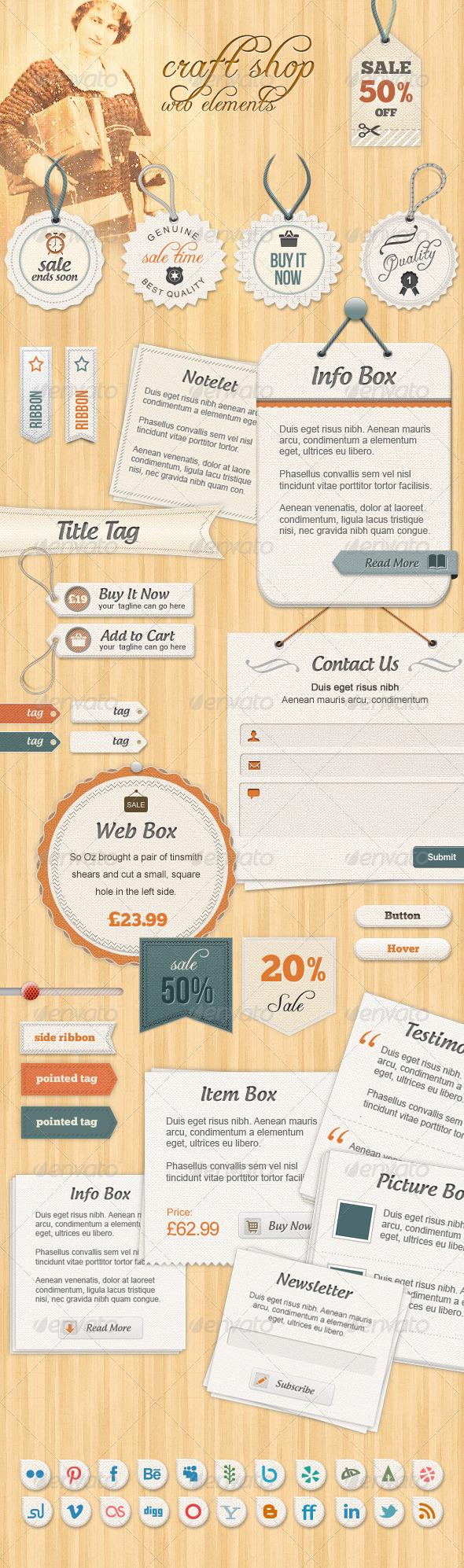 Craft Shop - Retail Web Elements - Badges & Stickers Web Elements