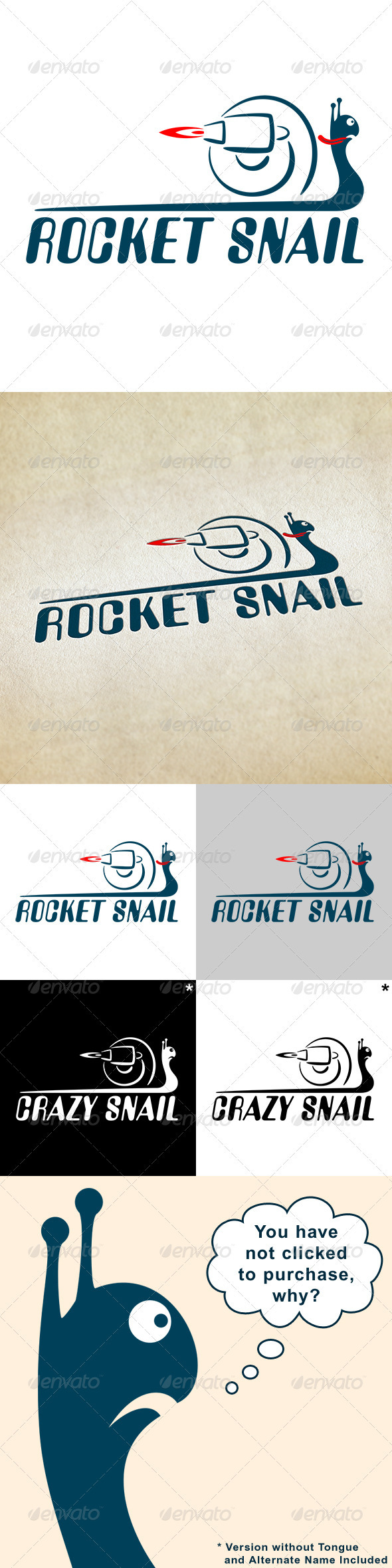 Rocket Snail - Animals Logo Templates