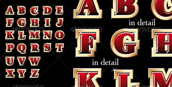 GraphicRiver Golden style alphabet 108917