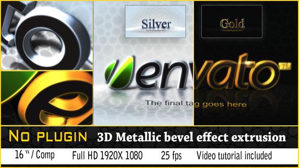 VideoHive 3D Golden Bevel Logo 3068029