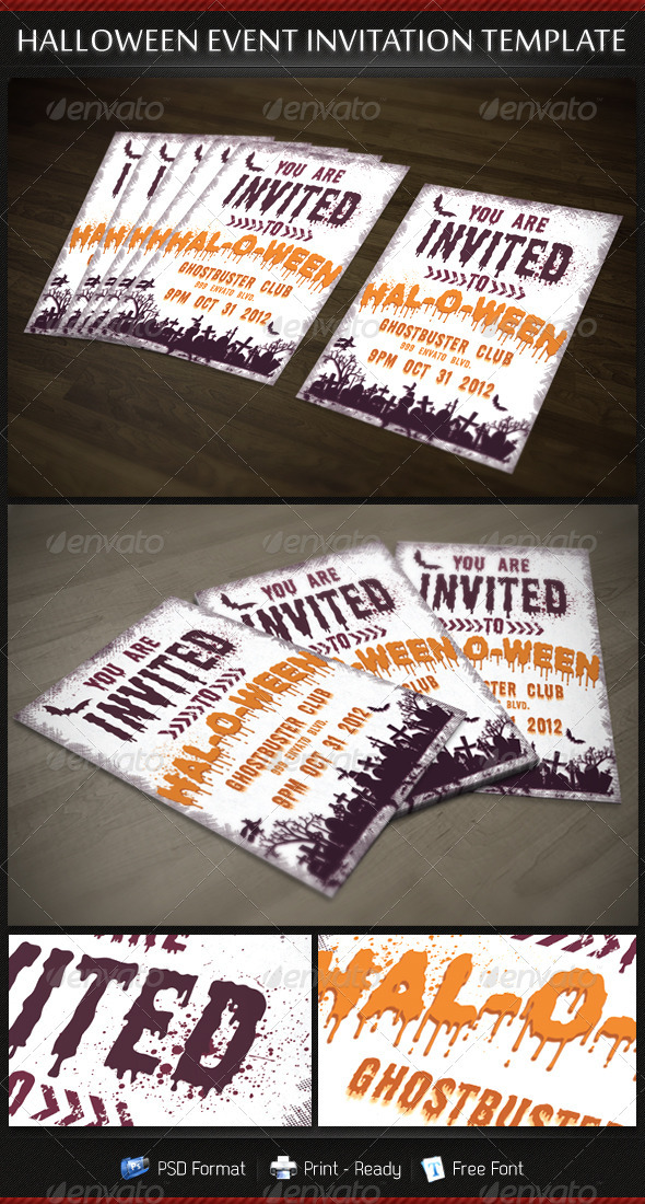 Halloween Party Invitation Template - Invitations Cards & Invites