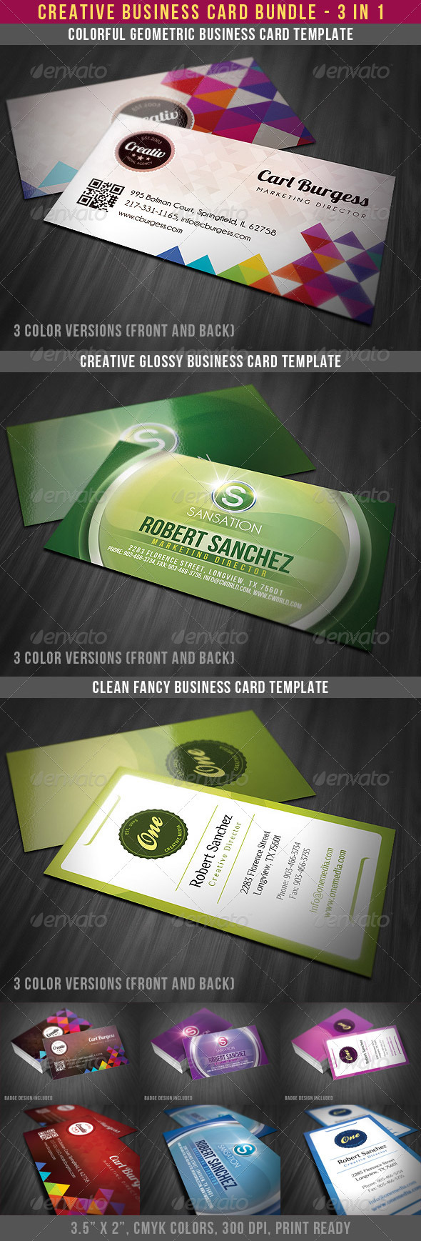 3 Creative Business Card Bundle - Creative Business Cards