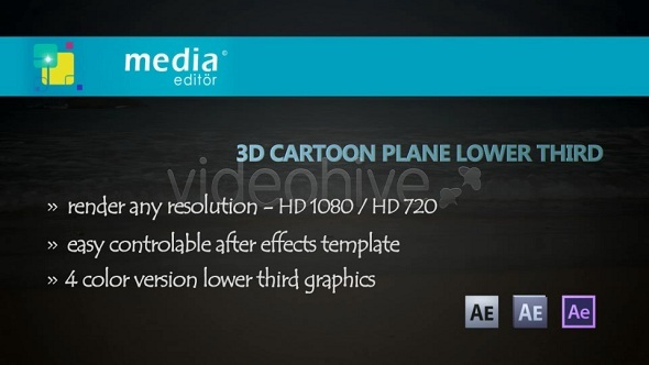 After Effects Project - VideoHive 3D Cartoon Plane Lower Third 3057276