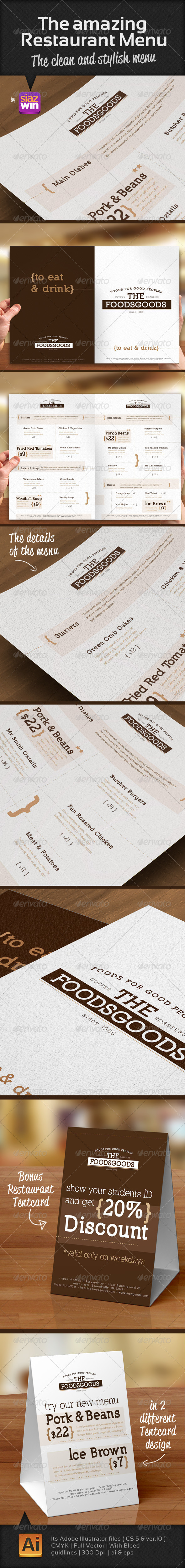 The Amazing Restaurant Menu 1 - Food Menus Print Templates