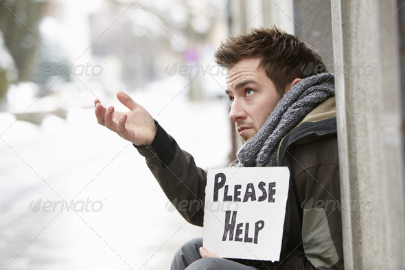 Homeless Young Man Begging In Street - Stock Photo - Images