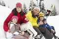 Family Eating Sandwich On Ski Holiday In Mountains - PhotoDune Item for Sale