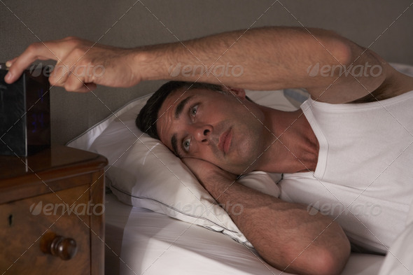 Man unable to sleep - Stock Photo - Images