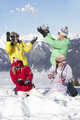 Teenage Family Having Snow Fight In Mountains - PhotoDune Item for Sale