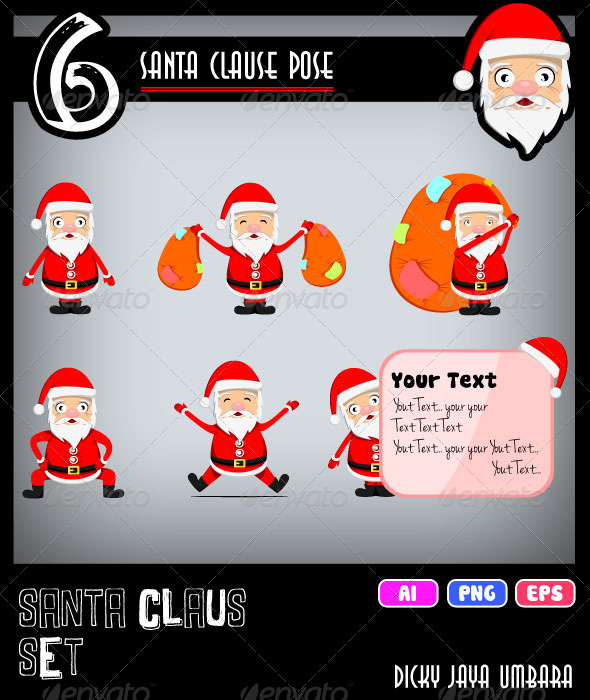 GraphicRiver Santa Claus Set 3072430
