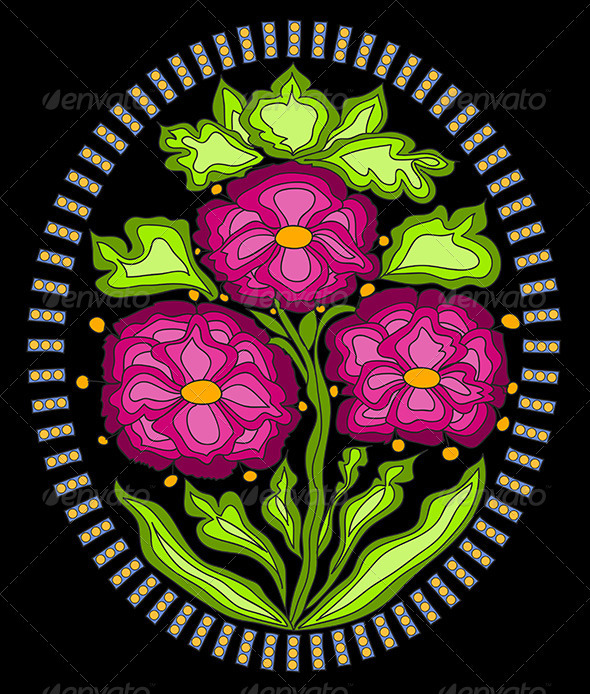 Vector Ornament with colorful Flowers