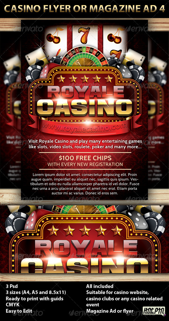 Casino Magazine Ad or flyer Template V5 - Commerce Flyers