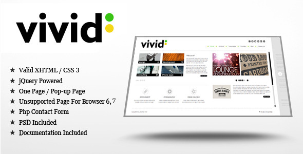Vivid - jQuery/HTML Template - Creative Site Templates