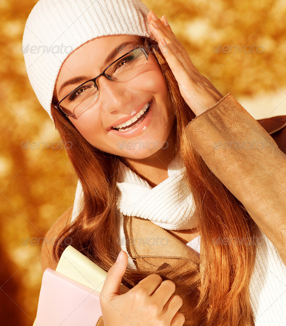 Cheerful student girl - Stock Photo - Images