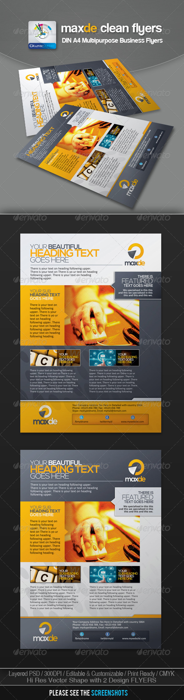 GraphicRiver Maxde Clean Business Flyer Ads 3072963