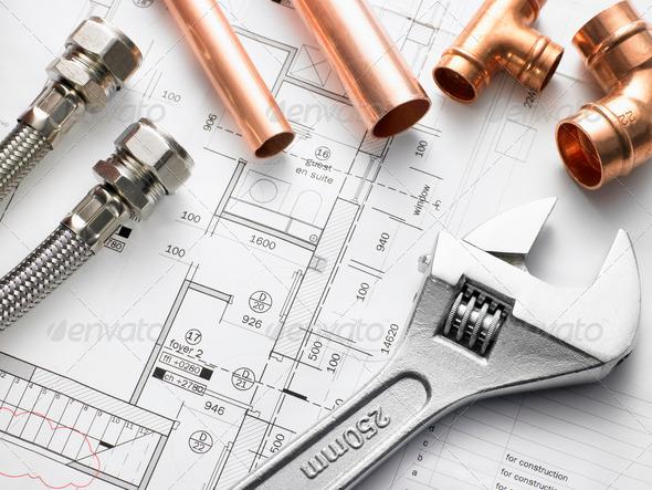 PhotoDune Plumbing Equipment On House Plans 316149