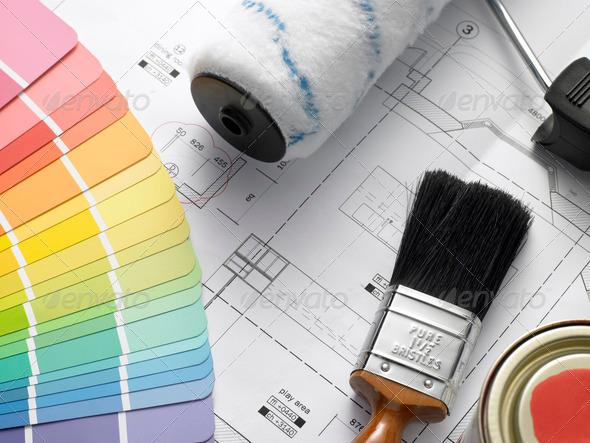 PhotoDune Decorating Equipment On House Plans 316150