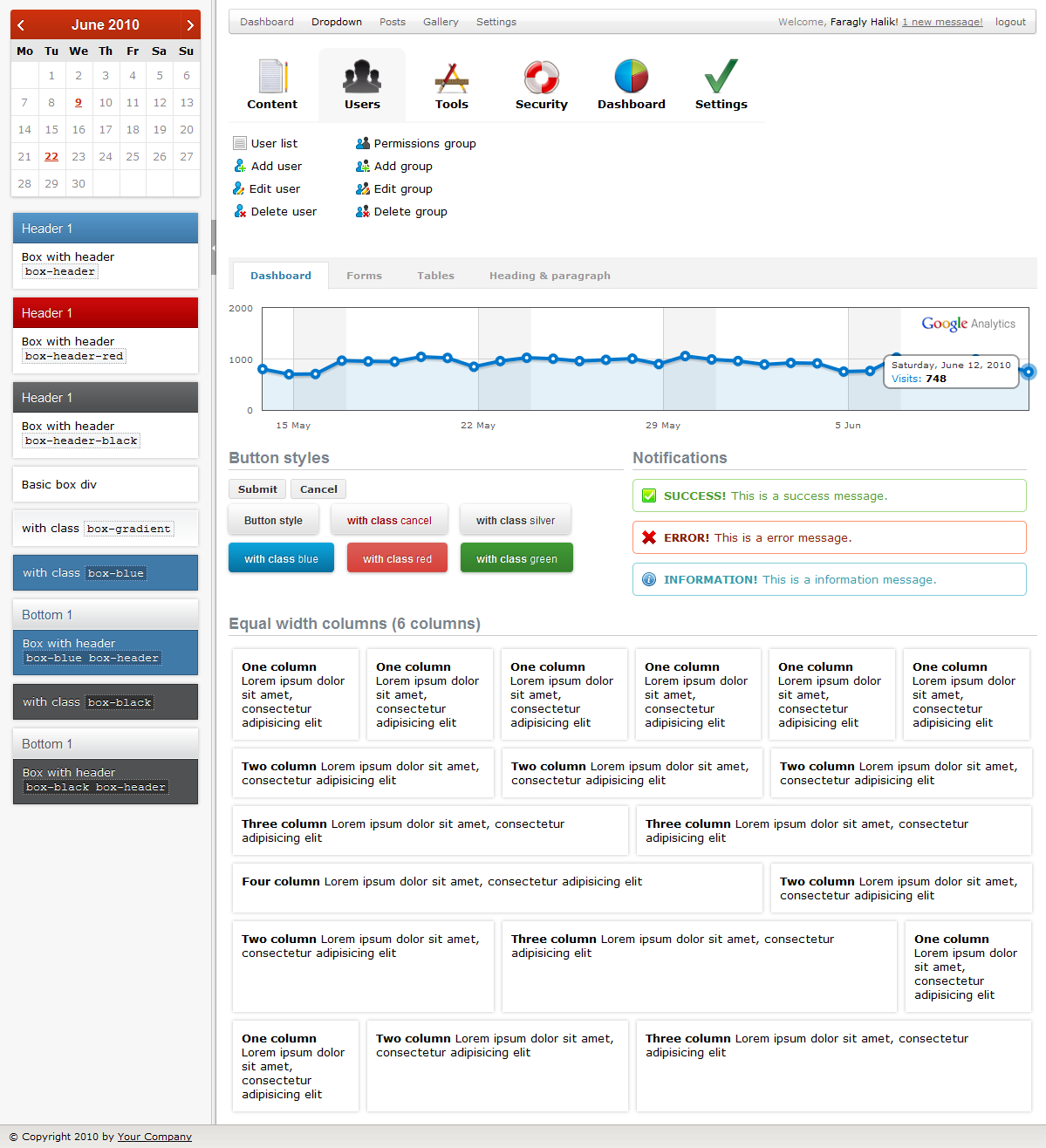 Karamel Admin - Screenshot of Dashboard page