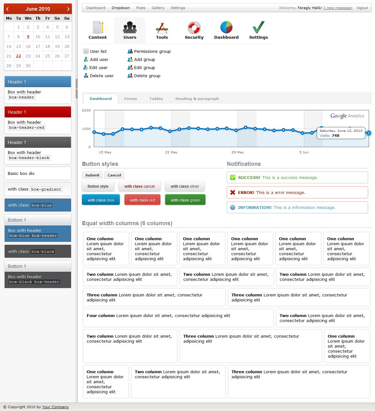 Karamel Admin - Screenshot of Dashboard page