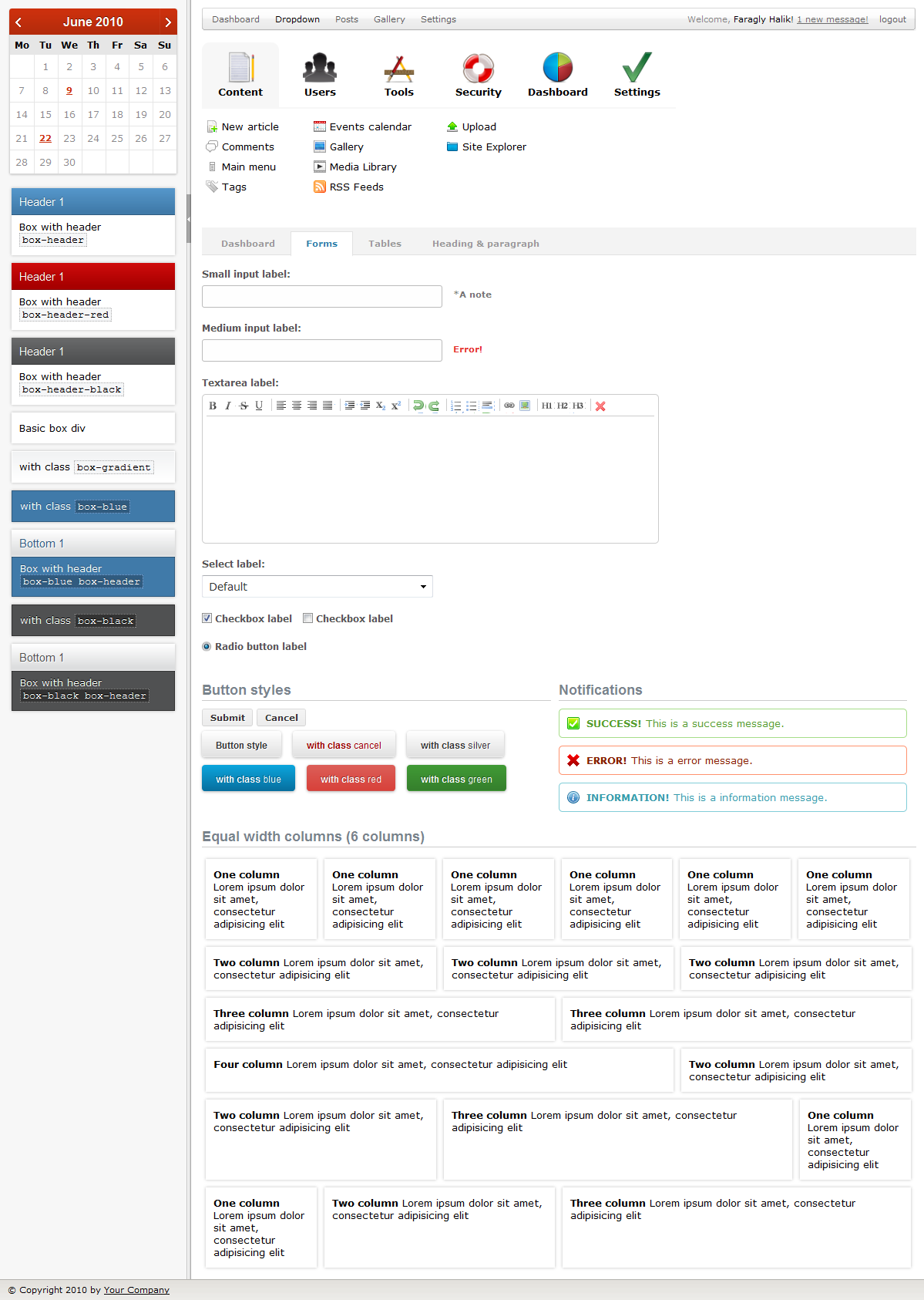 Karamel Admin - Screenshot of Forms page