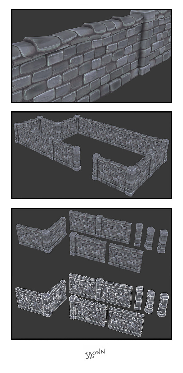 3DOcean Stone Wall Segments 01 3075956