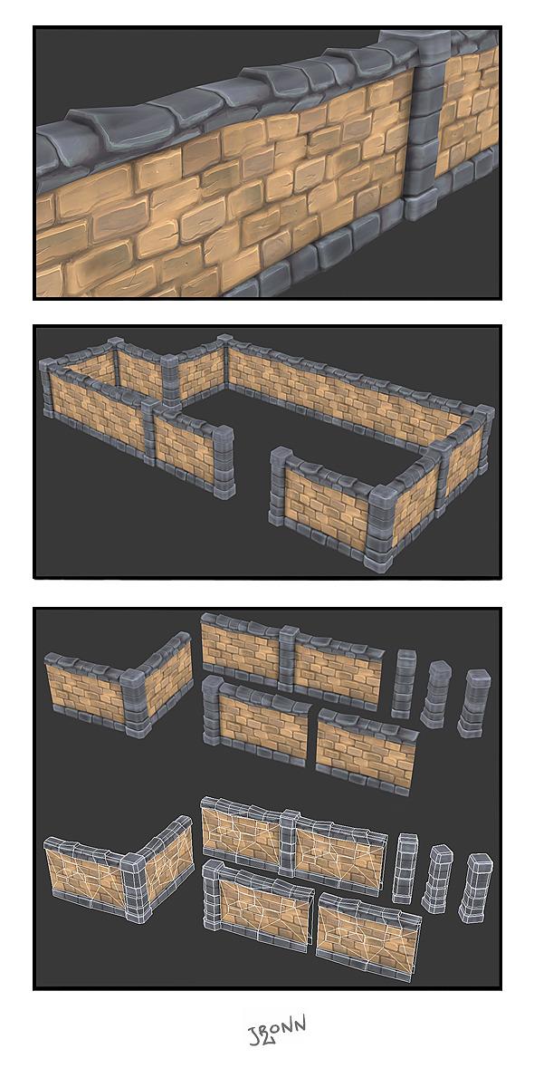 3DOcean Stone Wall Segments 02 3075958