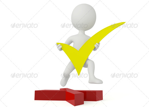 3d humanoid character hold a green checkmark - Stock Photo - Images