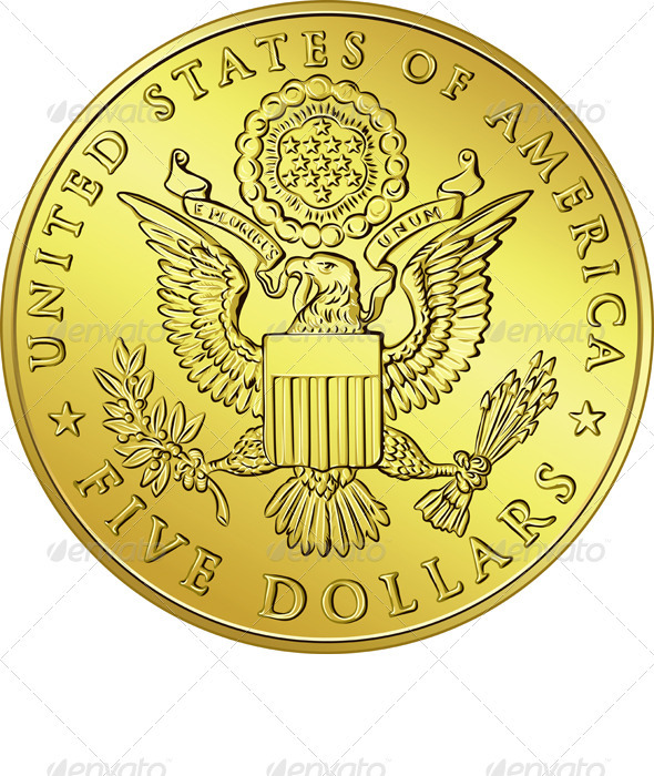 American Money, gold Dollar with the eagle - Man-made Objects Objects