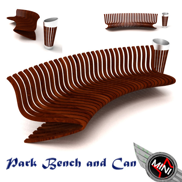 3DOcean Park Bench and Can Model 3077562