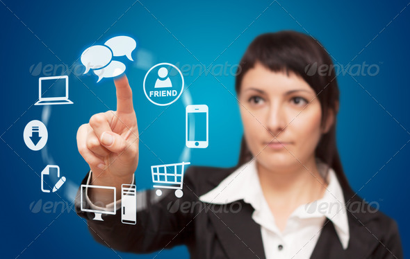 Businesswoman touchscreen interface. - Stock Photo - Images
