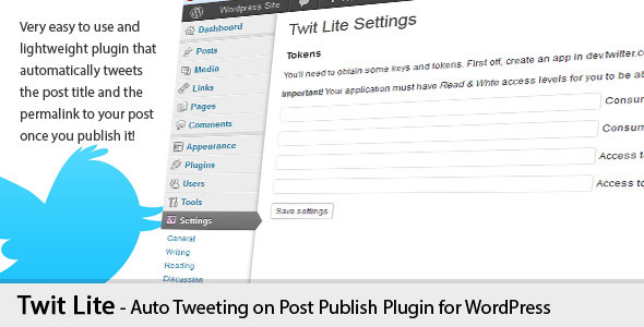 Twit Lite AutoTweetting Wordpress Plugin
