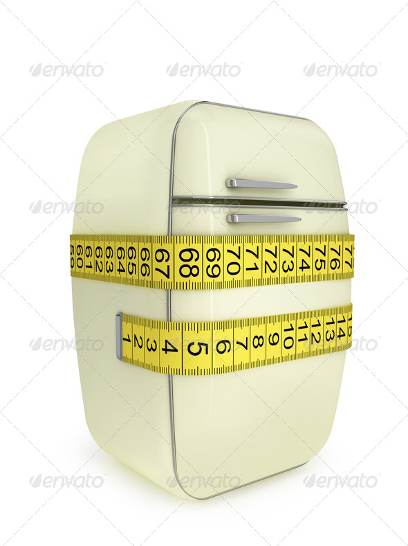 Vintage Refrigerator, tied at the Waist tailor measuring tape - Stock Photo - Images