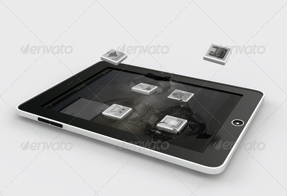 Tablet and Smartphone Apps falling into the Display Gadget - Stock Photo - Images