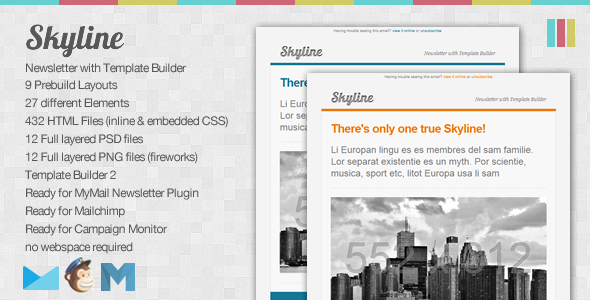 ThemeForest Skyline Newsletter with Template Builder 516891