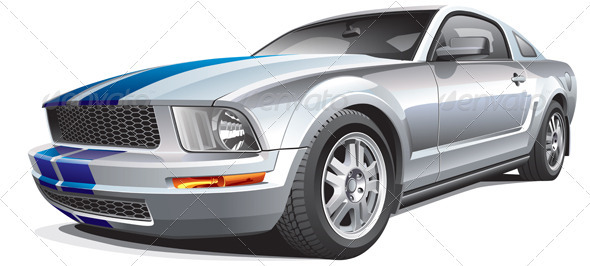 Silver Muscle Car - Objects Vectors