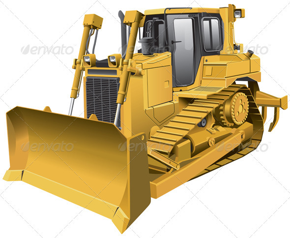 Light-brown Dozer - Objects Vectors