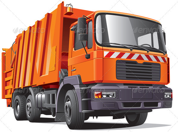 Orange Garbage Truck - Objects Vectors
