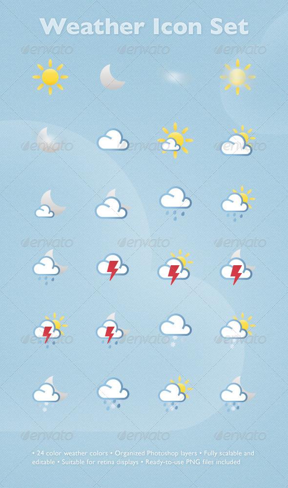 GraphicRiver Weather Icon Set 3079551 Created: 25