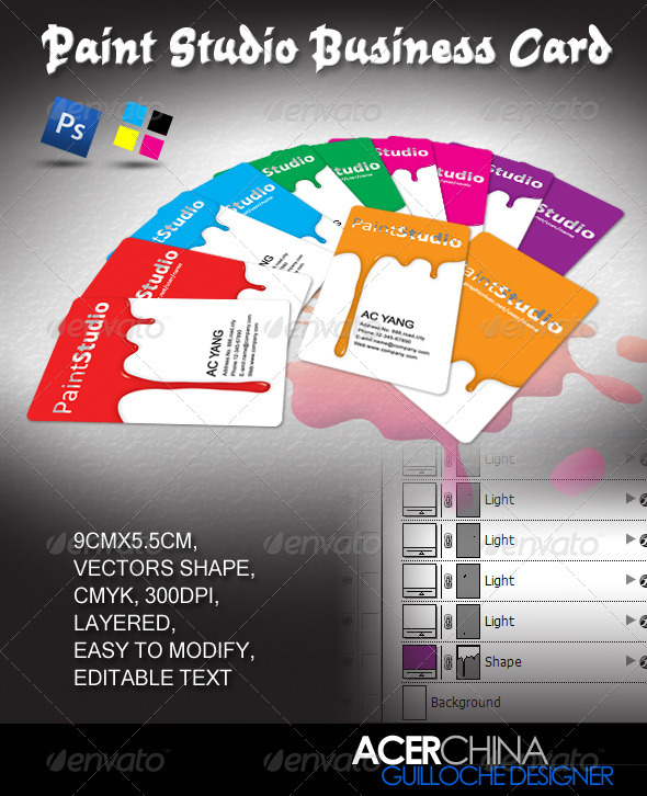 GraphicRiver Paint Studio Business Card 317004