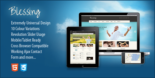 ThemeForest Blessing Responsive HTML5 CSS3 Template 3080448