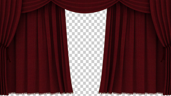 Realistic Red Curtain Opening