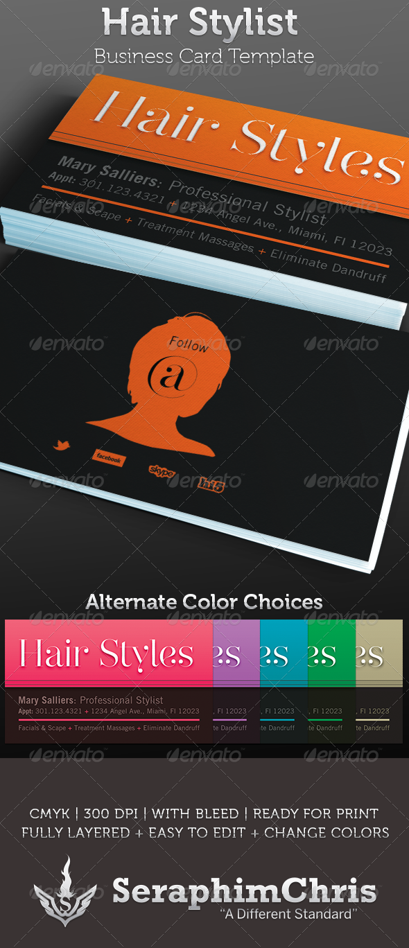 Hair Stylist: Business Card Template - Industry Specific Business Cards