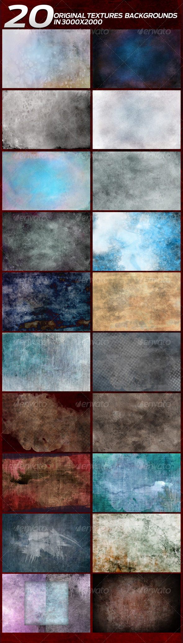 20 Original Textures/Backgrounds in 3000x2000 - Miscellaneous Textures