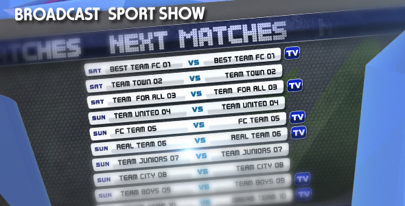 After Effects Project - VideoHive Broadcast Sport Show 3083003