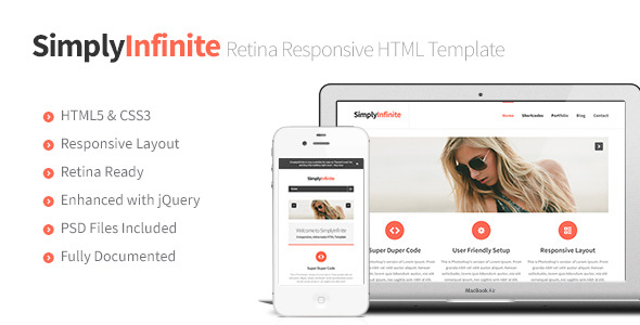 SimplyInfinite - Responsive, Retina HTML Template
