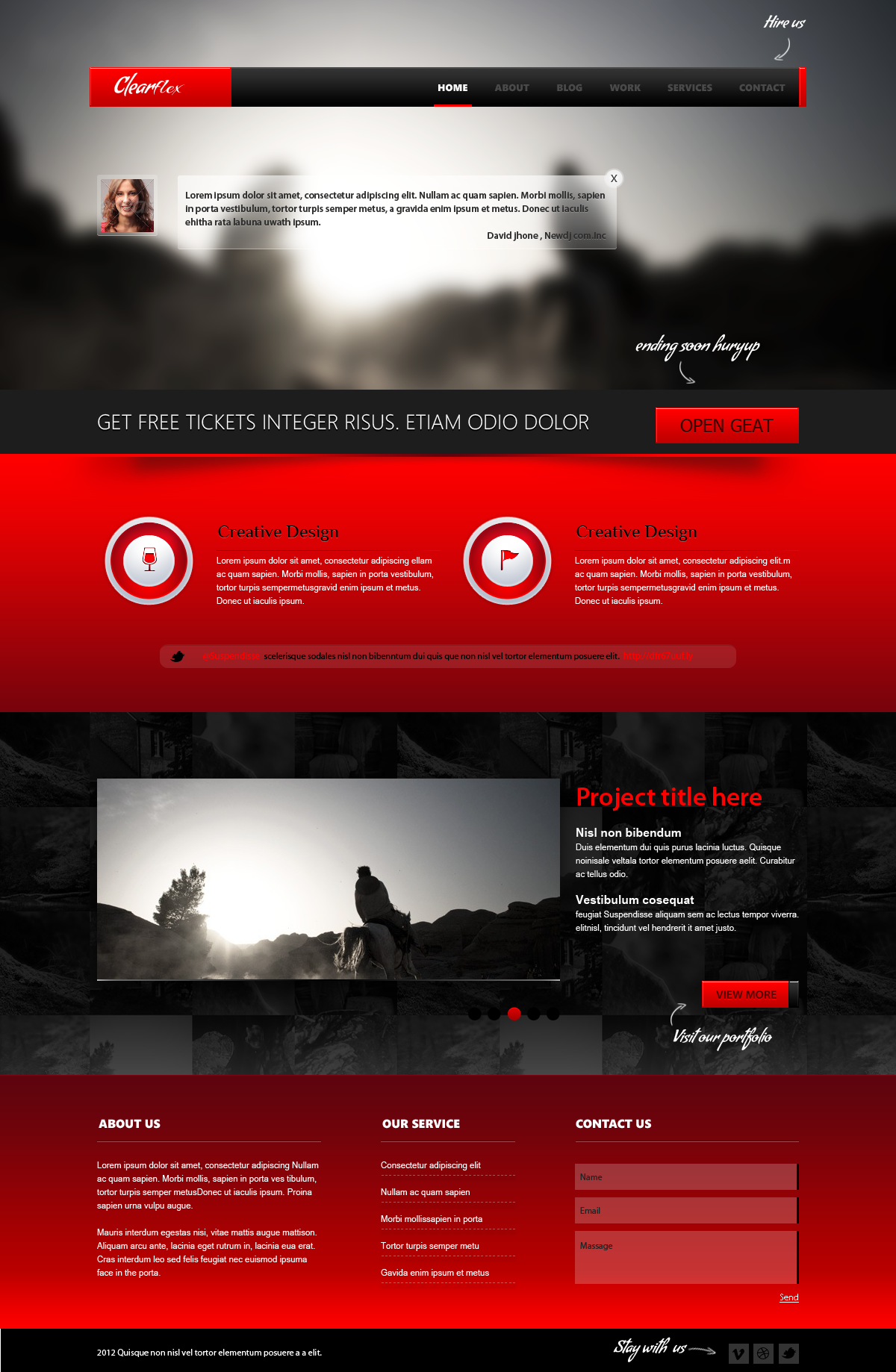 Clearflex PSD Templates - 03_Home page with red content