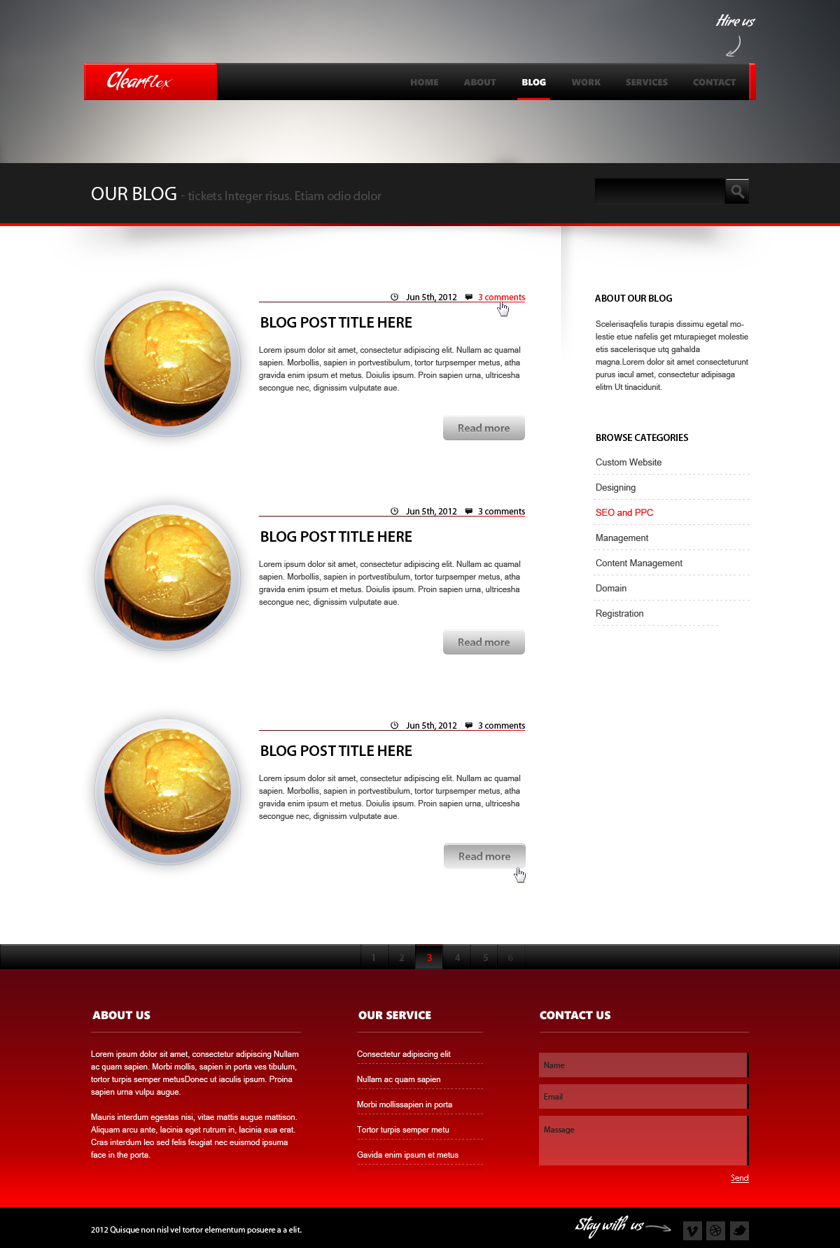 Clearflex PSD Templates - 07_Blog page with black sidebar
