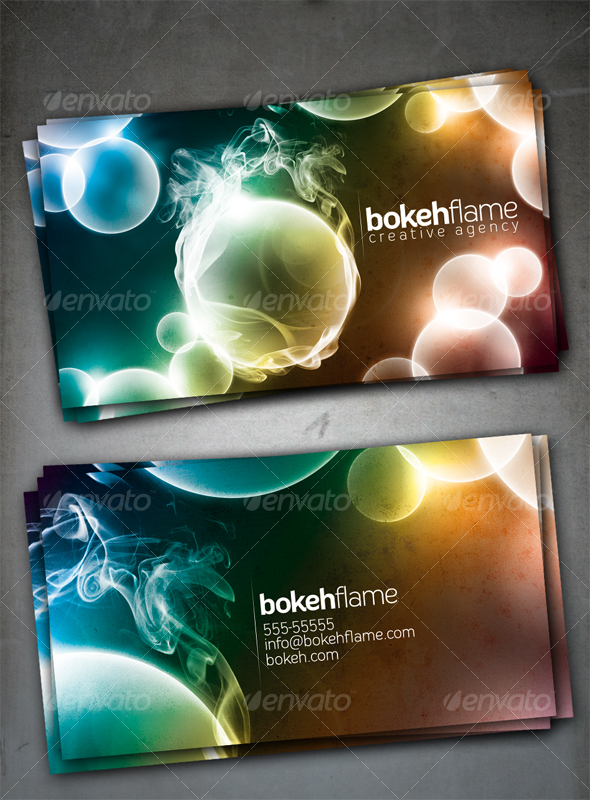 Bokeh Flame Card - Creative Business Cards