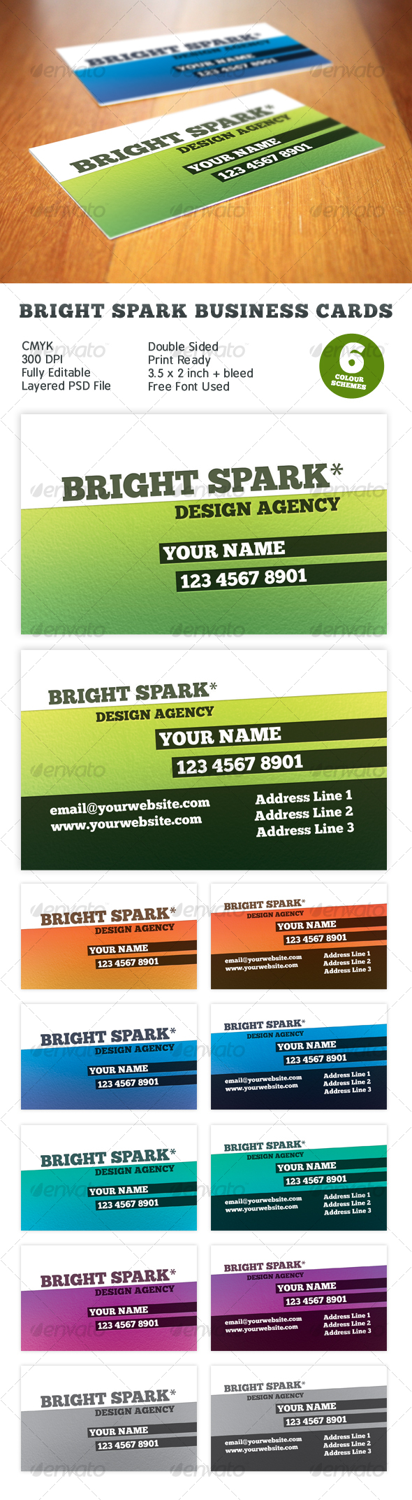 Bright Spark Print Ready Business Card - Creative Business Cards